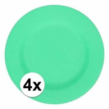 4x stevige bamboevezel borden groen 17,5 cm