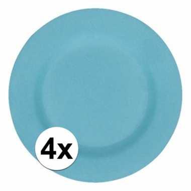 4x stevige bamboevezel borden lichtblauw 17,5 cm