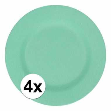 4x stevige bamboevezel borden mintgroen 17,5 cm
