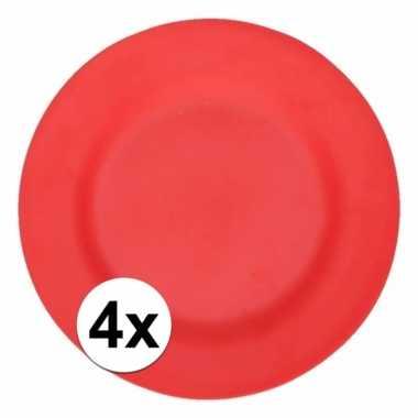 4x stevige bamboevezel borden rood 17,5 cm