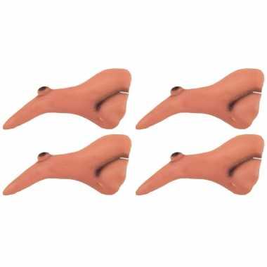 4x stuks heksen verkleed neus met wrat