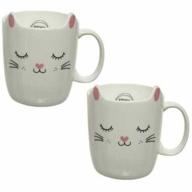 4x stuks katten/poezen mokken wit/roze 11 cm
