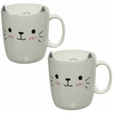4x stuks katten/poezen mokken wit/zilver 11 cm