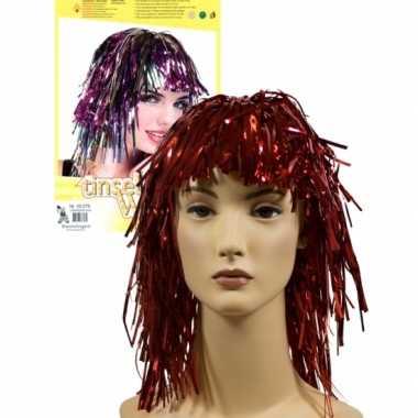 4x stuks lurex folie dames verkleed pruik rood