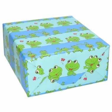 4x stuks rollen inpakpapier/cadeaupapier blauw/groene kikkers print 200 x 70 cm
