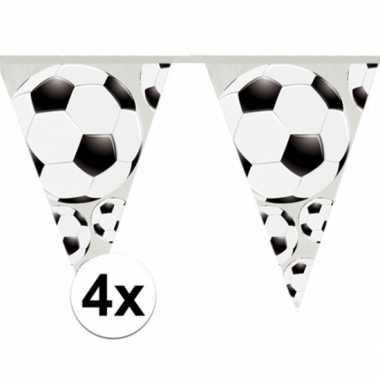 4x vlaggenlijnen voetbal thema 4 meter