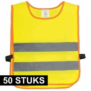 50x veiligheidsvesten fluorescerend geel voor kinderen