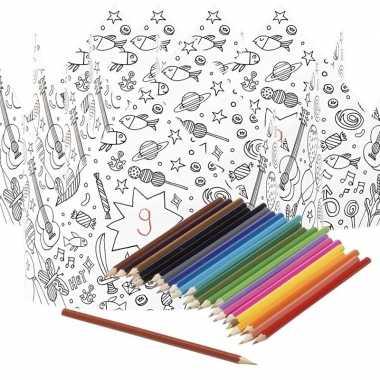 5x knutsel papieren kroontjes om in te kleuren incl. potloden