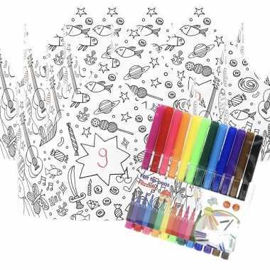 5x knutsel papieren kroontjes om in te kleuren incl. stiften