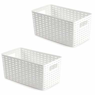5x opbergboxen/opbergmanden rotan wit kunststof - 15 x 28 x 13 cm