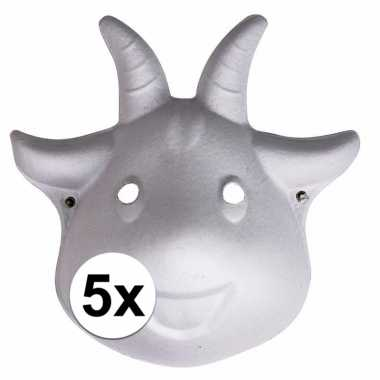 5x papier mache geiten maskers 22 cm