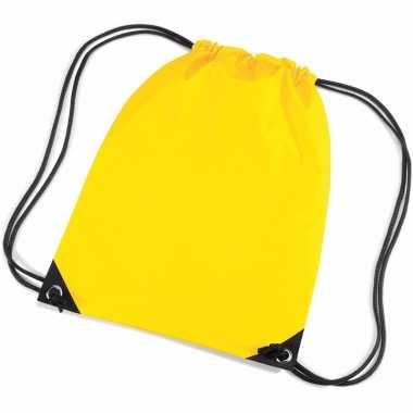 5x stuks gele gymtas/ gymtasjes met rijgkoord 45 x 34 cm
