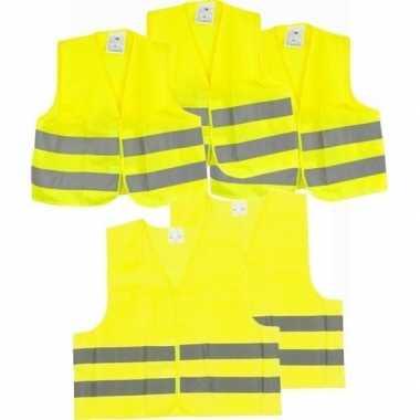 5x veiligheidsvesten/hesjes geel voor volwassenen/kinderen