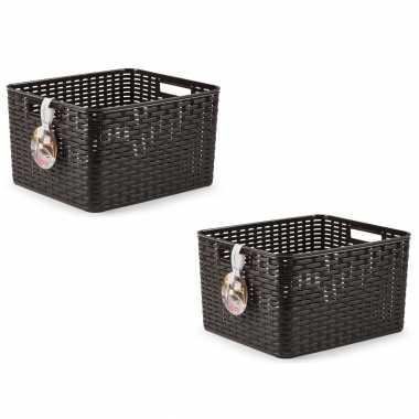 6x donkerbruine geweven opbergboxen/opbergmanden 28,5 liter kunststof