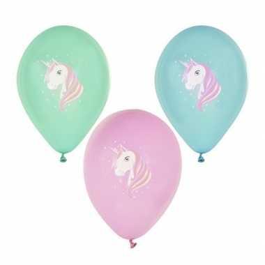 6x eenhoorn thema print ballonnen 29 cm