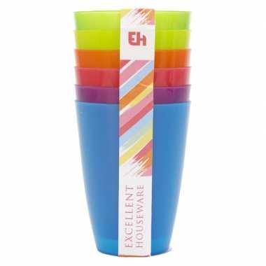 6x gekleurde drinkbekers/mokken kunststof 10 cm voor kinderen