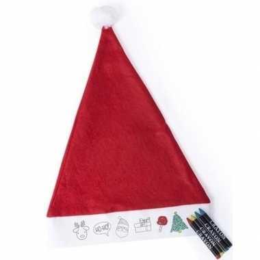 6x kerstmutsen voor kinderen inkleurbaar inclusief waskrijtjes