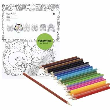 6x knutsel papieren maskers om in te kleuren incl. potloden
