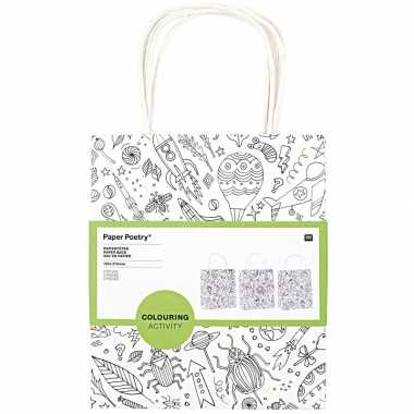6x knutsel papieren tassen/tasjes om in te kleuren voor kinderen