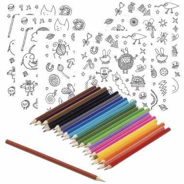 6x knutsel stickervellen om te kleuren incl. potloden voor kids