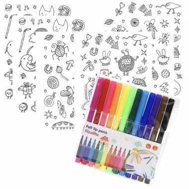 6x knutsel stickervellen om te kleuren incl. stiften voor kids