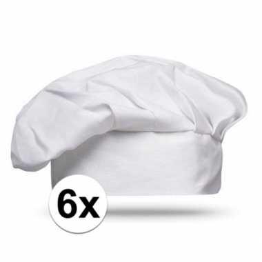 6x luxe witte kinderfeestjes koksmuts