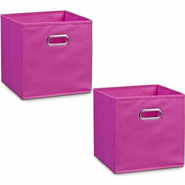 6x roze opbergmanden/kastmanden 28 x 28 cm