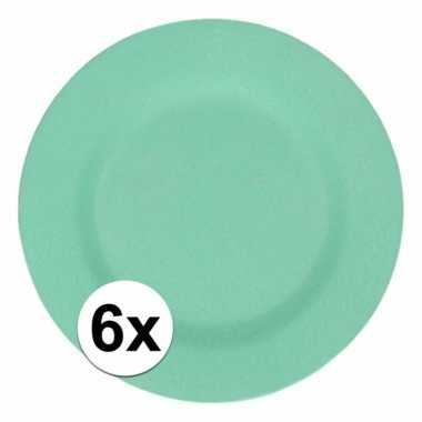 6x stevige bamboevezel bord mintgroen 17,5 cm