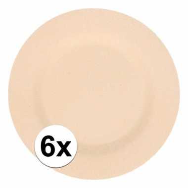 6x stevige bamboevezel borden beige 17,5 cm
