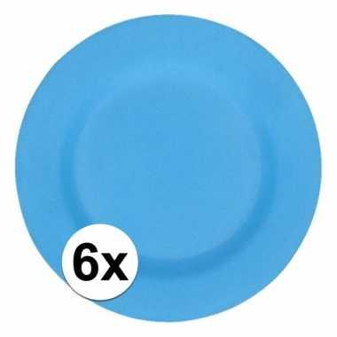6x stevige bamboevezel borden blauw 17,5 cm