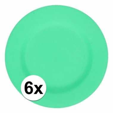 6x stevige bamboevezel borden groen 17,5 cm
