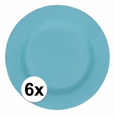 6x stevige bamboevezel borden lichtblauw 17,5 cm