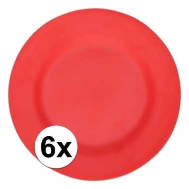 6x stevige bamboevezel borden rood 17,5 cm