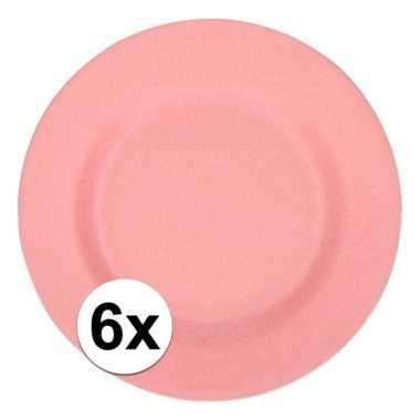 6x stevige bamboevezel borden roze 17,5 cm