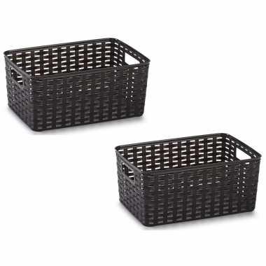8x donker bruin geweven opbergboxen/opbergmanden 10 liter kunststof