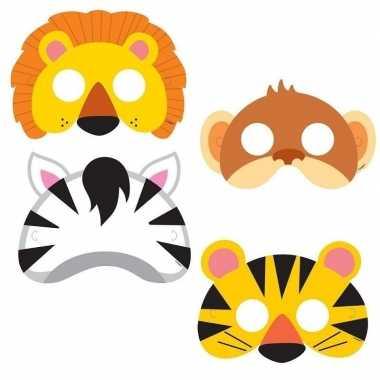 8x jungle themafeest maskers voor kinderen