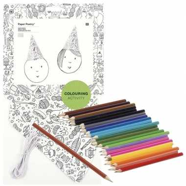 8x knutsel papieren feesthoedjes om in te kleuren incl. potloden