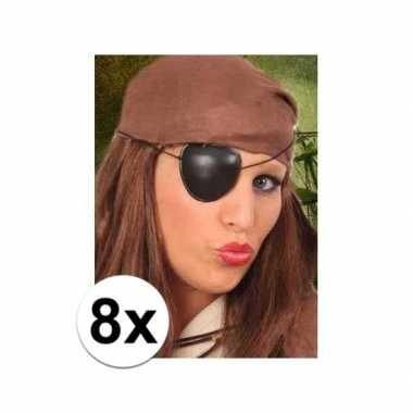 8x stuks piraten ooglapjes zwart