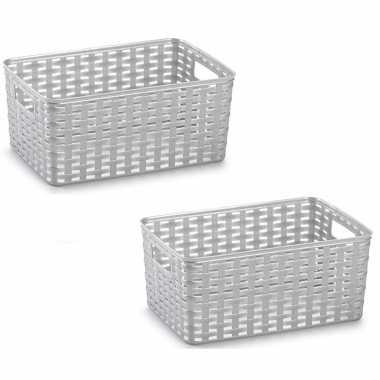 8x zilveren geweven opbergboxen/opbergmanden 10 liter kunststof