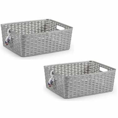 8x zilveren geweven opbergboxen/opbergmanden 12 liter kunststof