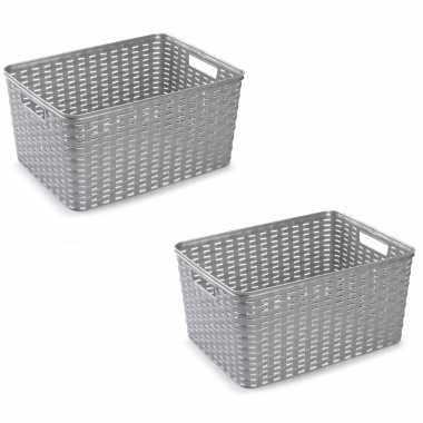8x zilveren geweven opbergboxen/opbergmanden 18 liter kunststof