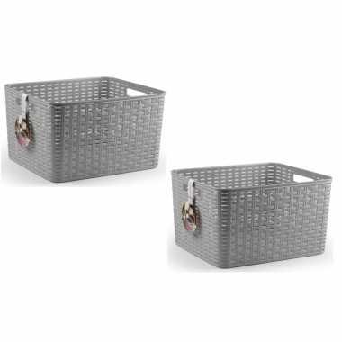 8x zilveren geweven opbergboxen/opbergmanden 28,5 liter kunststof
