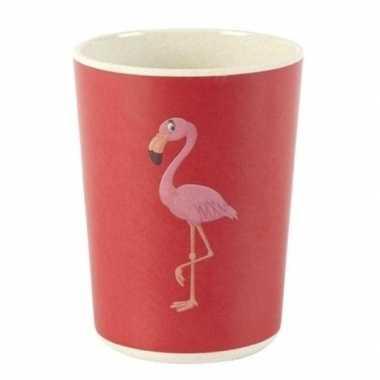 Bamboe beker met flamingo voor kinderen 8 cm