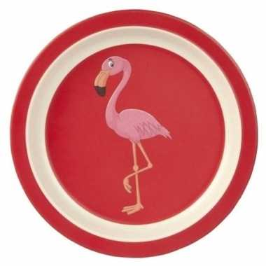 Bamboe ontbijtbord flamingo voor kinderen 21 cm
