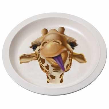 Bamboe ontbijtbord giraffe voor kinderen 21 cm