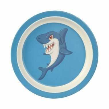 Bamboe ontbijtbord haai voor kinderen 21 cm