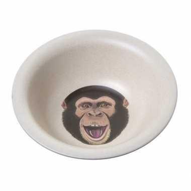 Bamboe ontbijtkom chimpansee voor kinderen 15 cm