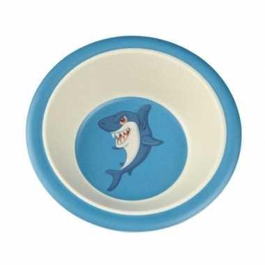 Bamboe ontbijtkom haai voor kinderen 16 cm
