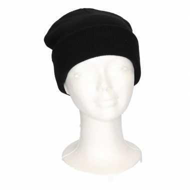 Basic winter muts zwart voor meisjes