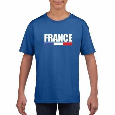 Blauw frankrijk supporter t-shirt voor kinderen